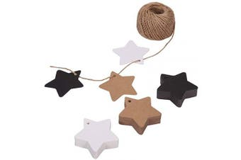 (Star) - 150ct Kraft Gift Tags Labels with String (3 Colours) (Star)
