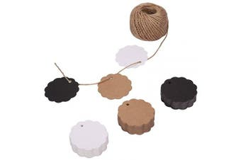 (Scalloped) - 150ct Kraft Paper Gift Tags Labels with StringTwine Black White Brown Bulk Set (Scalloped)