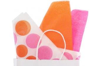 (20 x 30, Pink Orange Polka Dot) - BonBon Paper Premium Tissue Paper (20 x 30, Pink Orange Polka Dot)