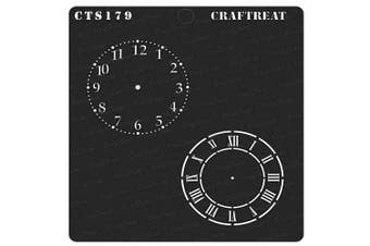 """(Clock Dials 6""""X6"""") - CrafTreat Clock Stencils for painting on Wood, Canvas, Paper, Fabric, Floor, Wall and Tile - Clock Dials - 15cm x 15cm - Reusable DIY Art and Craft Stencils - Clock Face Stencil"""