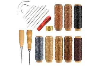 (Waxed Thread+tools) - FEPITO 21pcs Leather Waxed Thread 8 Colour 264 Yards 150D Leather Sewing Waxed Thread Cord with Leather Craft Hand Tools Kit for DIY Sewing Craft
