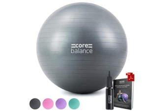 (75cm, Grey) - Gym Ball Exercise Fitness Yoga Pregnancy Anti Burst 55cm 65cm 75cm 85cm Pump