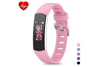 (Pink) - BingoFit Kids Fitness Tracker, Slim Sports Activity Tracker with Heart Rate Monitor Waterproof Pedometer Watch with Sleep Monitor, Step Counter, Calorie Counter GPS Sports Watch for Women Men Kids