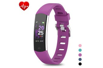(Purple) - BingoFit Kids Fitness Tracker, Slim Sports Activity Tracker with Heart Rate Monitor Waterproof Pedometer Watch with Sleep Monitor, Step Counter, Calorie Counter GPS Sports Watch for Women Men Kids