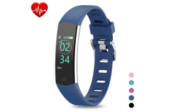 (Blue) - BingoFit Kids Fitness Tracker, Slim Sports Activity Tracker with Heart Rate Monitor Waterproof Pedometer Watch with Sleep Monitor, Step Counter, Calorie Counter GPS Sports Watch for Women Men Kids