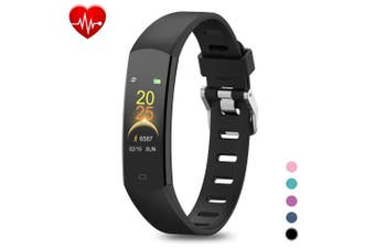 (Black) - BingoFit Kids Fitness Tracker, Slim Sports Activity Tracker with Heart Rate Monitor Waterproof Pedometer Watch with Sleep Monitor, Step Counter, Calorie Counter GPS Sports Watch for Women Men Kids