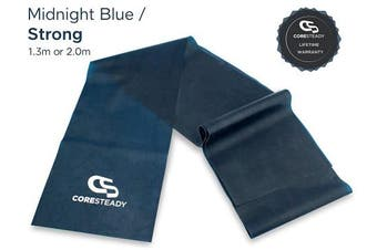 (#4 MIDNIGHT BLUE / STRONG, 1.3 Metre) - Coresteady Resistance Bands   Premium Quality Fitness Bands for Pilates, Yoga, Strength Training   Physiotherapy & Rehabilitation   For Men & Women   Exercise Guide Included