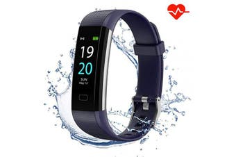 (Blue) - Akasma Fitness Tracker HR, S5 Activity Tracker Watch with Heart Rate Monitor, Pedometer IP68 Waterproof Sleep Monitor Step Counter for Women Men