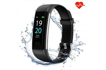 (Black) - Akasma Fitness Tracker HR, S5 Activity Tracker Watch with Heart Rate Monitor, Pedometer IP68 Waterproof Sleep Monitor Step Counter for Women Men