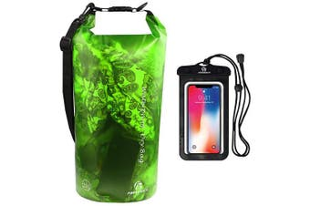 (5L, Translucent Green) - Freegrace Waterproof Dry Bag - Lightweight Dry Sack with Seals and Waterproof Case - Float on Water - Keeps Gear Dry for Kayaking, Beach, Rafting, Boating, Hiking, Camping and Fishing