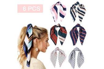 (6PCS Striped scarf) - 6 Pcs Satin Silk Scarfs for Women Head Hair Scarf Scrunchies Elastic Hair Print Bandana Ponytail Holder Scrunchy Ties Vintage Accessories for Women Girls