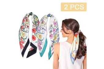 (2PCS Flower Print Scarf) - 2Pcs Hair Scarf Scrunchies Silk Elastic Hair Print Bandana Scarf Ponytail Holder Scrunchy Ties Vintage Accessories for Women Girls