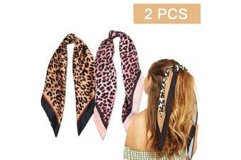 (2PCS Leopard Print Scarf) - 2Pcs Hair Scarf Scrunchies Silk Elastic Hair Print Bandana Scarf Ponytail Holder Scrunchy Ties Vintage Accessories for Women Girls