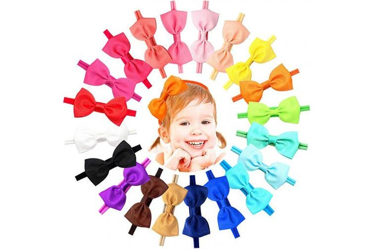 (B-2.75 Inches) - 20 Colours Super Soft Baby Headbands Hair Bows Elastic Nylon Hair Bands for Baby Girls Toddlers