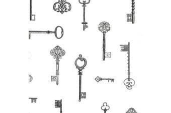 (black) - Brewster Addison Black Vintage Keys Wallpaper