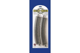 (1, grey) - Bachmann Trains Snap-Fit E-Z Track 18. Radius Curved Track (4/card)