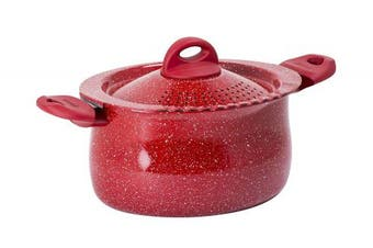 "Bialetti"" Madame Rubino Induction Pasta Pot, Aluminium, Grey/Red, 30 x 20 x 15 cm"