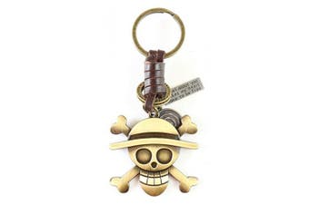 (Skull) - AuPra Skull Leather KeyRing Gift Women & Men Best Friend Home Punk KeyChain Mum & Dad Teacher Handbag Pirate Charm Key Ring Girl & Boy Car Pendant