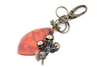 (Skull Heads) - AuPra Skull Heads Leather KeyRing Gift Women & Men Best Friend Home Punk KeyChain Mum & Dad Teacher Handbag Pirate Axe Charm Key Ring Girl & Boy Car Pendant