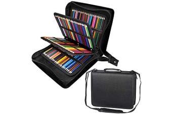 (216, Black) - Shulaner 216 Slots PU Leather Coloured Pencil Case Organiser Large Capacity Carrying Bag for Prismacolor Watercolour Pencils, Crayola Coloured Pencils, Marco Pens, Gel Pens (Black, 216)