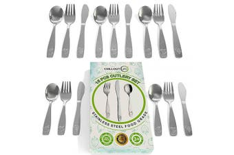 15 Piece Stainless Steel Kids Silverware Set | Child and Toddler Safe Flatware | Kids Utensil Set | Metal Kids Cutlery Set Includes 5 Small Kids Spoons, 5 Forks & 5 Knives