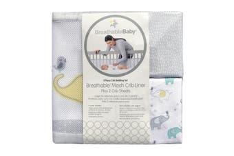 BreathableBaby 3pc Classic Crib Bedding Set–Elephant Tales