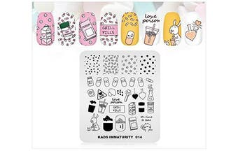 (1#) - Nail Stamping Plate Fashion Cute Pill Medicine Ice Tea Dots Theme Multi-Pattern Stamp Print Image Stamp Template Nail Art for Nail Design By Rolabling