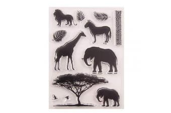 Animals Elephant Giraffe Lion Leaves Tree Rubber Clear Stamp for Card Making Clear Stamp