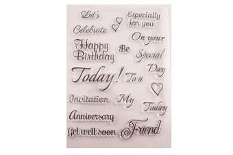 Greeting Words Happy Birthday Get Well Soon Retirements Cards Rubber Clear Stamp for Card Making Clear Stamp