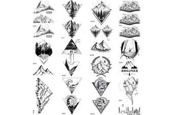COKTAK 12Pieces/Lot Black Mountain Temporary Tattoos For Men Boys Women Triangle Marine Sea Wave Body Art Arm Legs Water Transfer Fake Tattoo Forest Sticker Sheets Children Tatoos Sheet Adult Paper