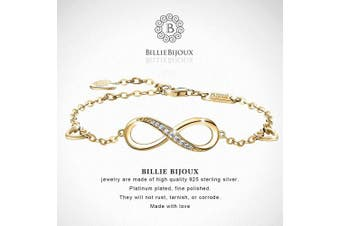 (5-gold) - Billie Bijoux Womens 925 sterling Silver Infinity Endless Love Symbol Charm Adjustable Bracelet Mother's Day