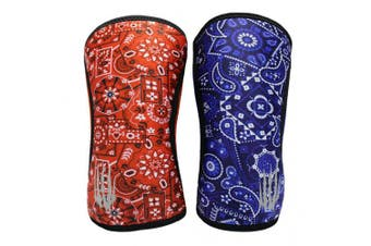 """(5mm - Medium 11.5""""-13.5"""", Red/Blue Bandanna Reversible) - Bear KompleX Compression Knee Sleeves, Fitness & Support for Workouts & Running. Sold in Pairs-Crossfit Training, Weightlifting, Wrestling, Squats & Gym Use. 5mm & 7mm Thick, Multicolor for Men &"""