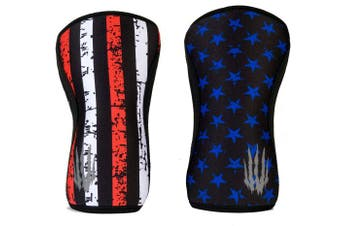 """(5mm - XXLarge 18"""" -20"""", Star & Stripe) - Bear KompleX Compression Knee Sleeves, Fitness & Support for Workouts & Running. Sold in Pairs-Crossfit Training, Weightlifting, Wrestling, Squats & Gym Use. 5mm & 7mm Thick, Multicolor for Men & Women"""