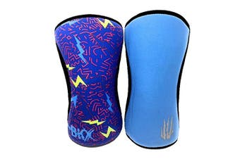 """(7mm - Xlarge 15.5""""-18"""", Lightning & Blue Reversible) - Bear KompleX Compression Knee Sleeves, Fitness & Support for Workouts & Running. Sold in Pairs-Crossfit Training, Weightlifting, Wrestling, Squats & Gym Use. 5mm & 7mm Thick, Multicolor for Men & Wom"""