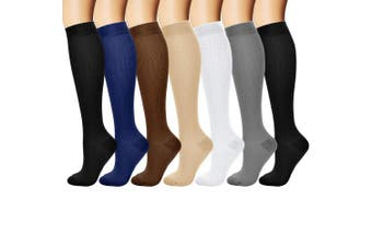 (6colors, L-XL) - arteesol Compression Socks 7 Pairs for Women & Men, Better Blood Circulation Comfortable Stockings, Graduated Athletic Fit for Running, Nurses, Shin Splints, Flight Travel, Maternity Pregnancy
