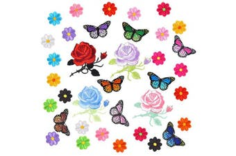 (size 1) - Coopay 36 Pieces Flowers Butterfly Iron on Patches Embroidery Applique Patches for Arts Crafts DIY Decor, Jeans, Jackets, Clothing, Bags