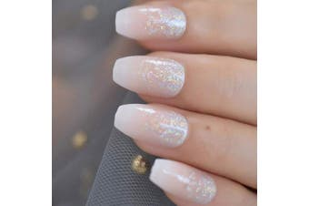 (L5176) - CoolNail Holo Glitter Pink Nude French Ballerina Coffin False Nails Gradient Natural Press on Fake Nails Tips Daily Office Finger Wear
