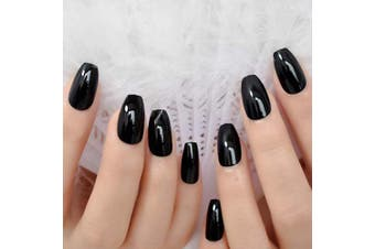 (L5153) - CoolNail Classic Black UV Coffin False Nails Pure Solid Colour Ballerina Fake Nail Artificial Extension Tips for Finger Free Glue Sticker