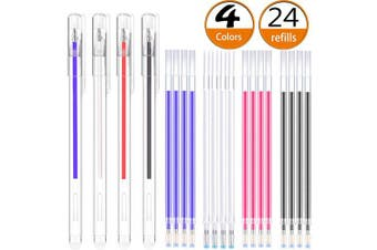Heat Erasable Fabric Marking Pens with 20 Refills for Tailors Sewing, and Quilting Dressmaking, 4 Colours Heat Erasable Pens for Various Colours of Fabrics (24)