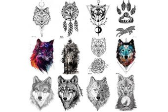 COKTAK 12Pieces/Lot Forest Realistic Wolf Temporary Tattoos For Men Body Art Women Arm Tattoo Stickers Kids Tribal Coyote Design Fake Adults Tattoo Sheets Waterproof Geometric Black Tatoos Paper