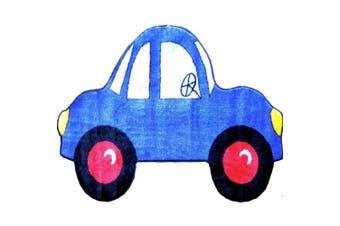 (3-footx1.5m) - LA Rug FTS-103 3147 Fun Time Shape Blue Car High Pile Rug - 31 x 47 Inch