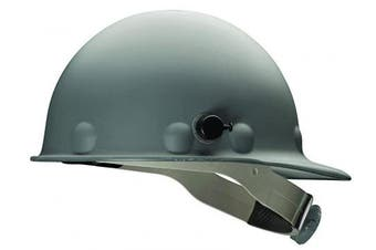 (Grey) - Fibre-Metal by Honeywell P2AQRW09A000 Super Eight Fibre Glass Cap Style Ratchet Hard Hat with Quick-Lok, Grey