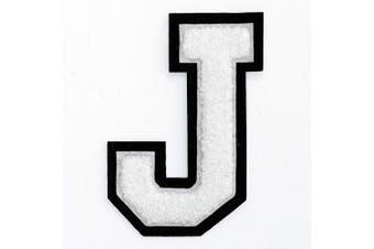 (J, White/Black) - Letter J - Chenille Stitch Varsity Iron-On Patch by pc, 10cm - 1.3cm , TR-11648 (White/Black)