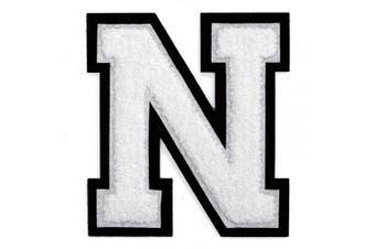 (N, White/Black) - Letter N - Chenille Stitch Varsity Iron-On Patch by pc, 10cm - 1.3cm , TR-11648 (White/Black)