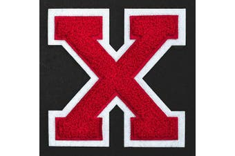 (X, Red/White) - Letter X - Chenille Stitch Varsity Iron-On Patch by pc, 10cm - 1.3cm , TR-11648 (Red/White)