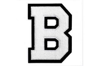 (B, White/Black) - Letter B - Chenille Stitch Varsity Iron-On Patch by pc, 10cm - 1.3cm , TR-11648 (White/Black)
