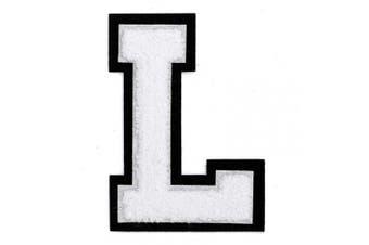 (L, White/Black) - Letter L - Chenille Stitch Varsity Iron-On Patch by pc, 10cm - 1.3cm , TR-11648 (White/Black)