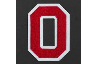 (O, Red/White) - Letter O - Chenille Stitch Varsity Iron-On Patch by pc, 10cm - 1.3cm , TR-11648 (Red/White)