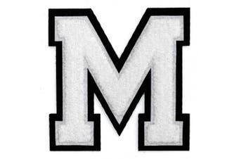 (M, White/Black) - Letter M- Chenille Stitch Varsity Iron-On Patch by pc, 10cm - 1.3cm , TR-11648 (White/Black)
