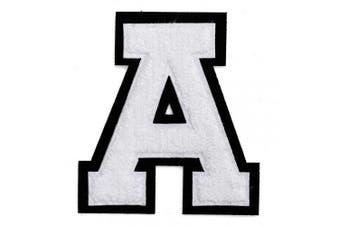 (A, White/Black) - Letter A - Chenille Stitch Varsity Iron-On Patch by pc, 10cm - 1.3cm , TR-11648 (White/Black)